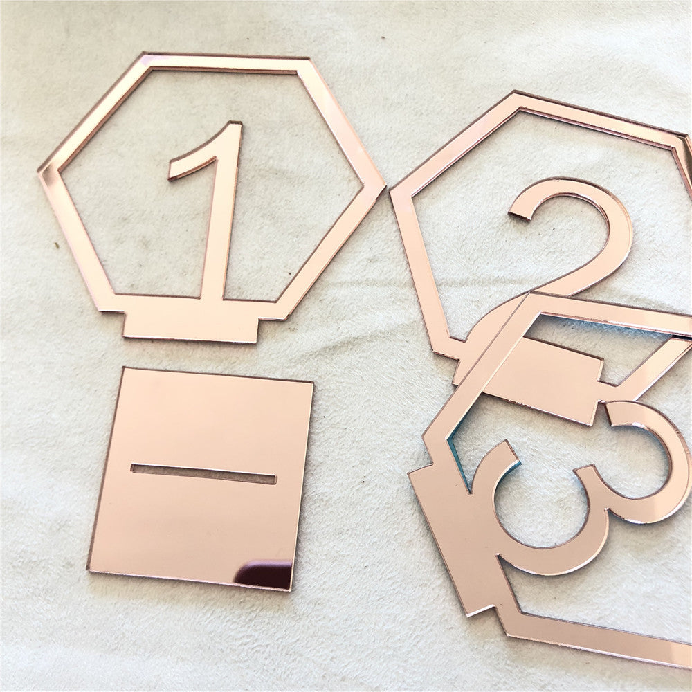 Hexagonal Table Numbers: Rose Gold, Silver, Gold or wood