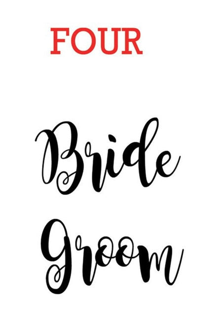 4 pieces Bridal Party Name Sticker Decals - customised names, fonts, colour
