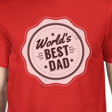 World's Best Dad Mens Red Crew Neck Cotton Shirt
