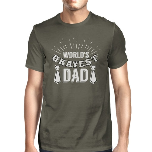 Worlds Okayest Dad Mens Dark Gray Graphic Tee