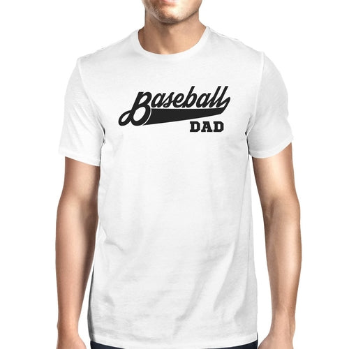 Baseball Dad Men's White Graphic T-Shirt Dad Gifts - Smart gadget & Accessories,Baby & toy