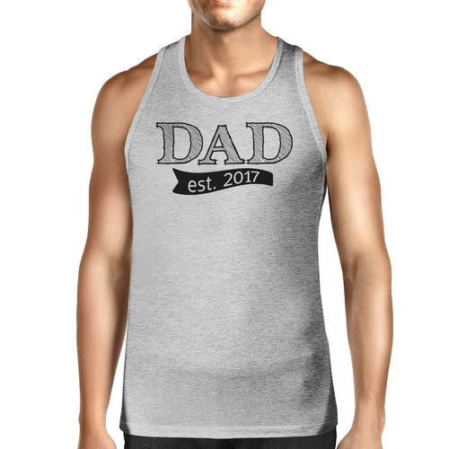 Dad Est 2017 Mens Grey Cotton Tanks Fathers Day - Smart gadget & Accessories,Baby & toy