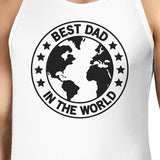 World Best Dad Mens White Cotton Tank Top Fathers