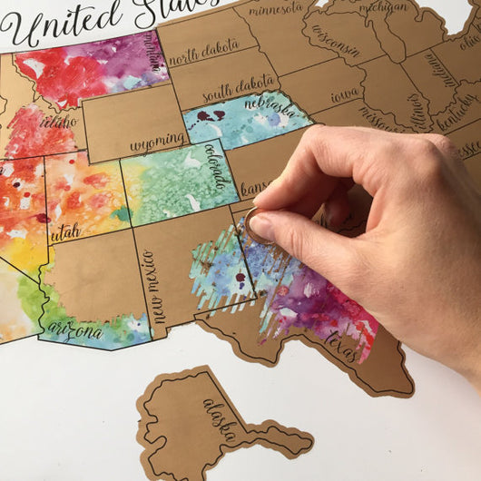 United States of America (USA US) Watercolor Scratch Map - Life improvement item