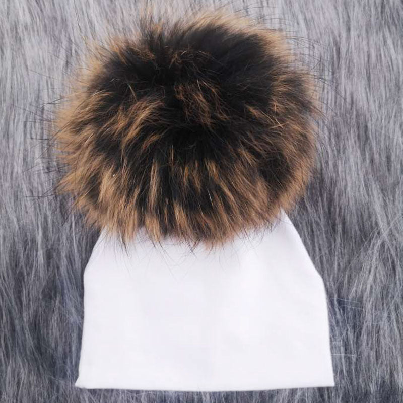 Brown Pom // White Hat
