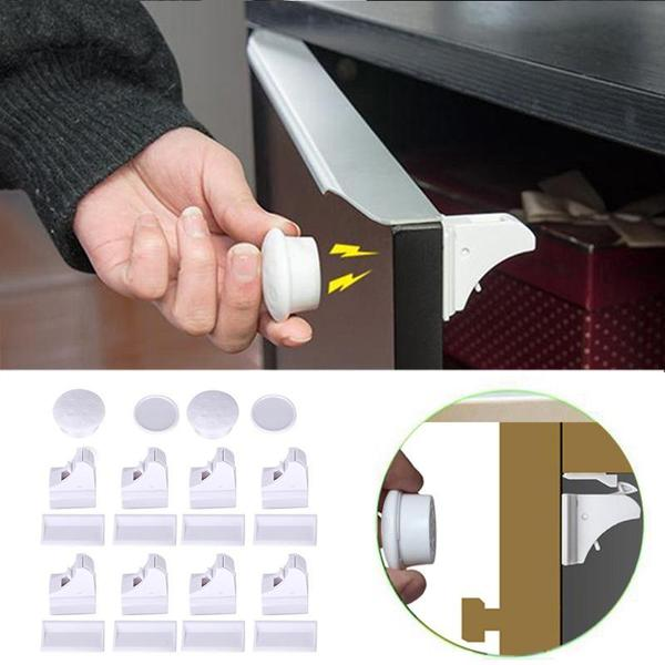 Magnetic Cabinet Locks - (1 Set = 8 locks + 2key )