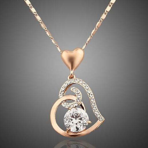LUX LOVE Rose Gold Stellux Crystals Heart Necklace For Women - The Luxury Vibe