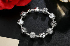 Antique Silver Charm Bracelet & Bangle with Love and Flower Crystal