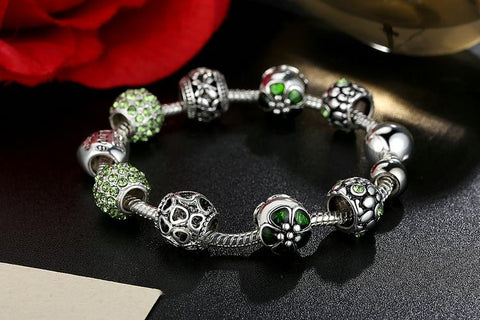Antique Silver Charm Bracelet & Bangle with Love and Flower Crystal - The Luxury Vibe