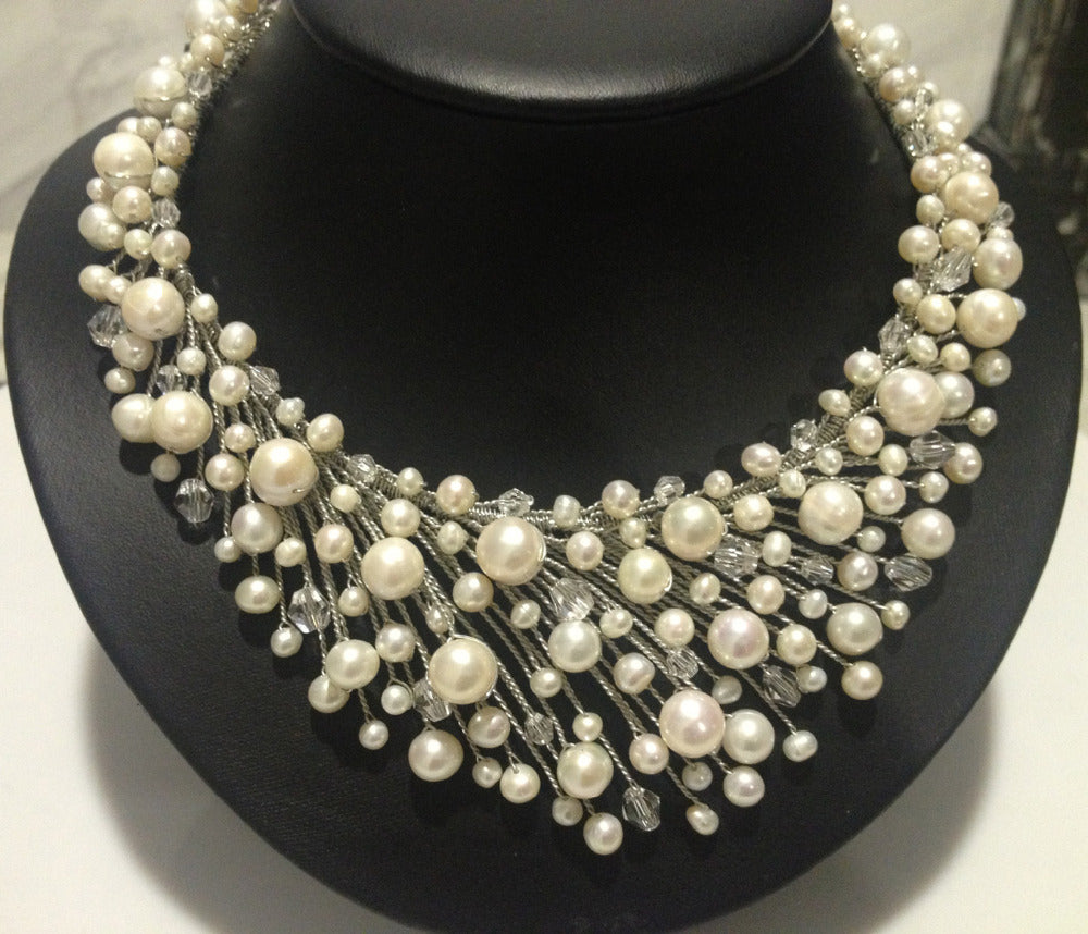 LUX LOVE Fresh Water Pearl & Crystal Necklace For Women - The Luxury Vibe