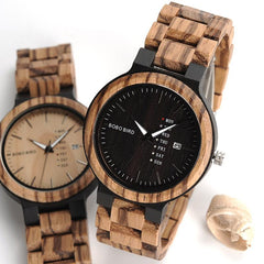 Calendar Watch With Quartz Movement And Wooden Strap Wristwatches Dress Watch relogio B-O26 - The Luxury Vibe