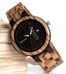 Calendar Watch With Quartz Movement And Wooden Strap Wristwatches Dress Watch relogio B-O26