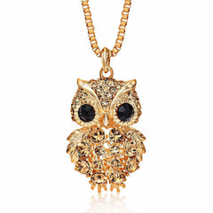 OWL Alloy with Rhinestone Crystal Long Necklace - The Luxury Vibe