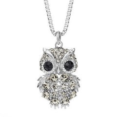 OWL Alloy with Rhinestone Crystal Long Necklace