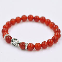 Silver Buddha Red Beaded Bracelet - The Luxury Vibe