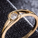 Women Stylish Simplicity Single Zircon Gold Surface Couple Rings - The Luxury Vibe
