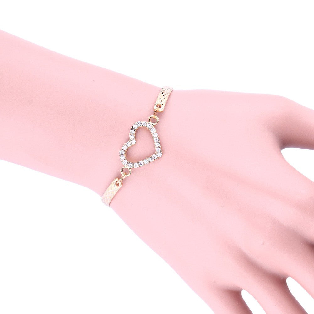 LUX Crystal Rhinestone Love Heart Bangle Cuff Bracelet - The Luxury Vibe