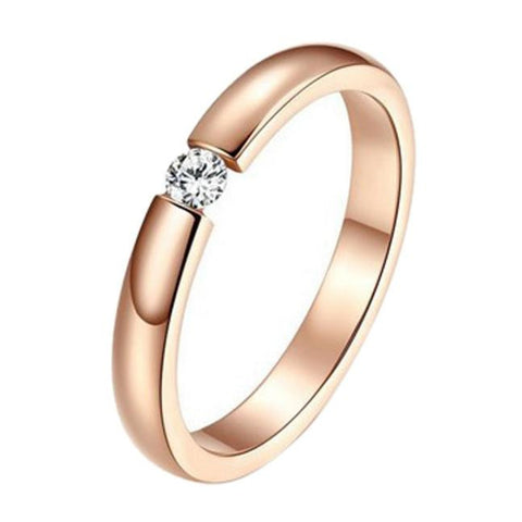 LUX LOVE Simplicity Single Diamond Rose Gold Ring - The Luxury Vibe