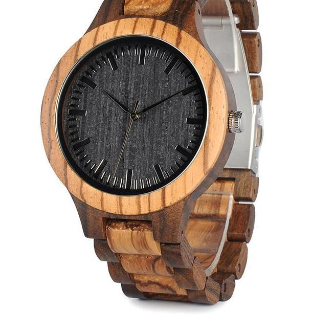 BOBO BIRD D30 Round Vintage Zebra Wood Case Men Watch With Ebony Bamboo Wood Face With Zebra Bamboo Wood Strap Japanese movement - The Luxury Vibe