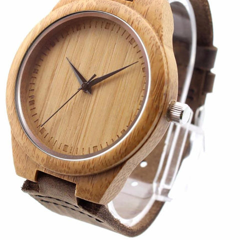 BOBO BIRD Unique Lover Natural Bamboo Wood Casual Quartz Watches Classic Style With Real Leather Strap In Gift Box - The Luxury Vibe