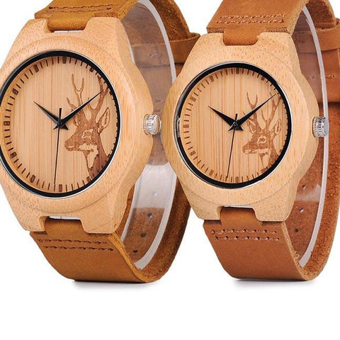 BOBO BIRD WN20 Lovers Elk Deer Head Bamboo Wooden Watch with Soft Brown Leather Strap for Men Women - The Luxury Vibe