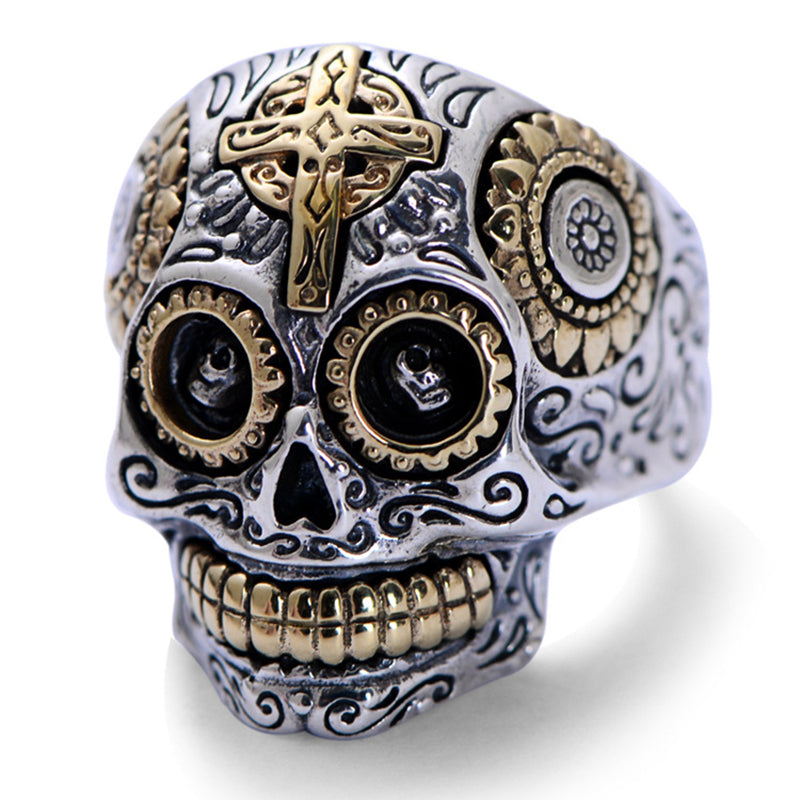 Sterling Silver/Gold Skull Ring - The Luxury Vibe