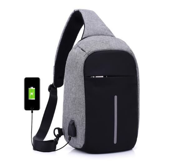 External USB Charge Chest Bags Men Chest Pack Antitheft Travel Crossbody Bag For Men Casual Sling Shoulder Bag - The Luxury Vibe