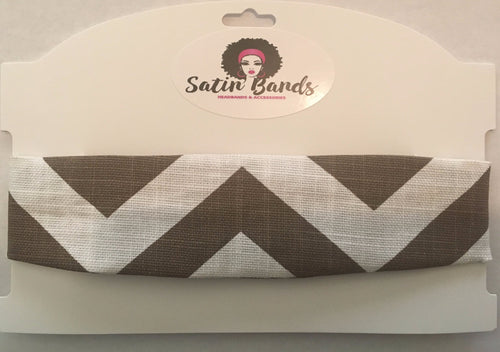 Brown Satin Headband - Chevron