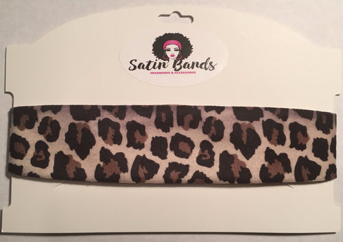 Gold Satin Headband - Leopard