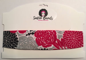 Red Satin Headband - Floral