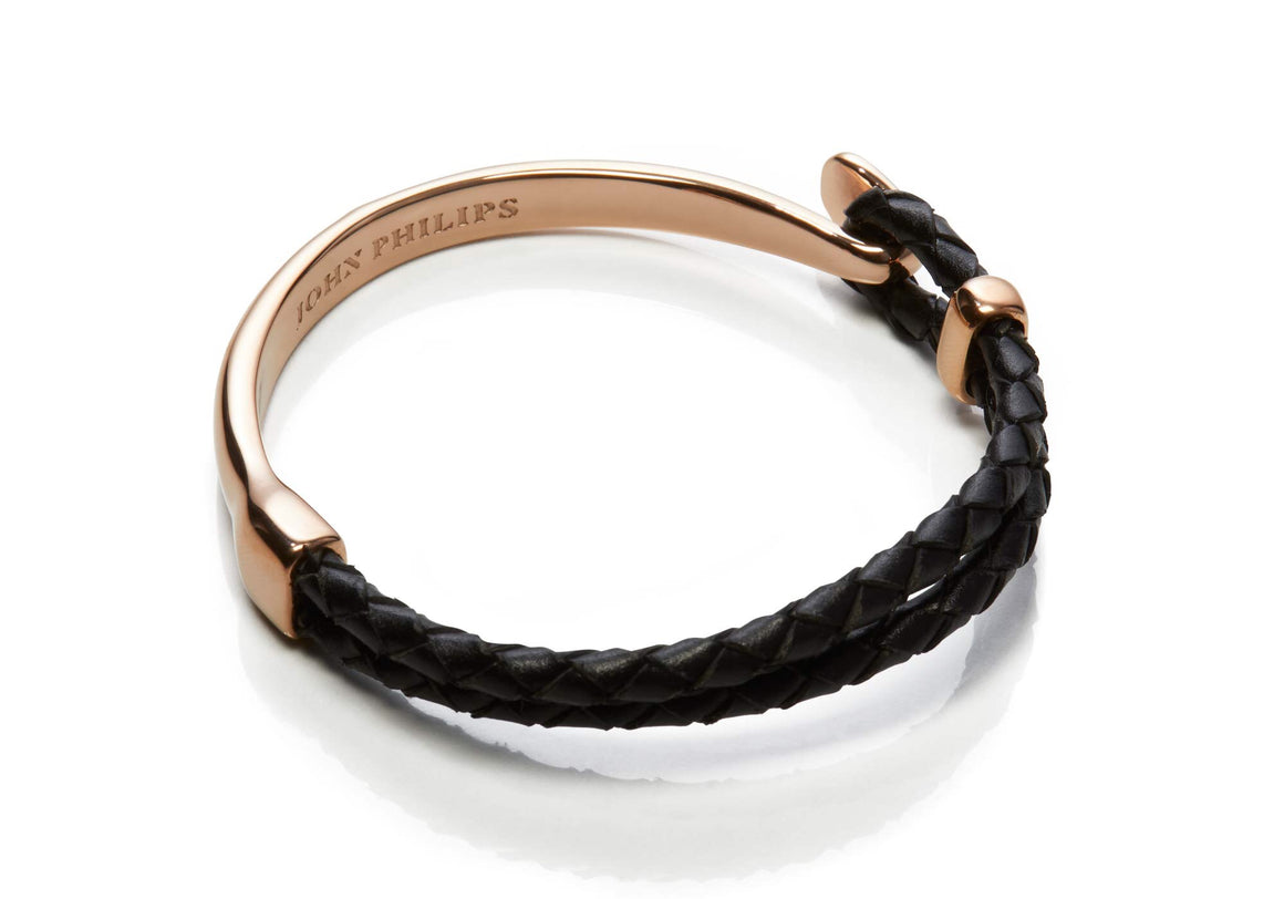 Hybrid Leather Bracelet (Rose & Black)