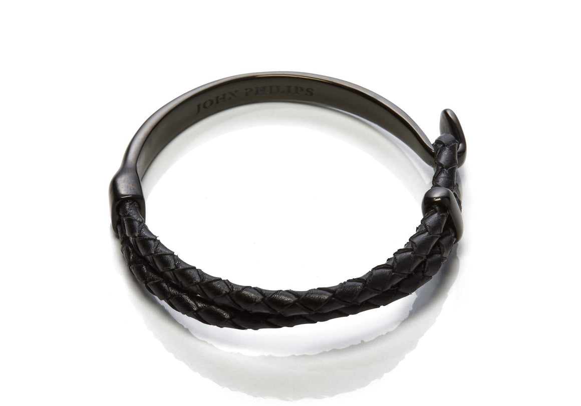Hybrid Leather Bracelet (Black & Black)
