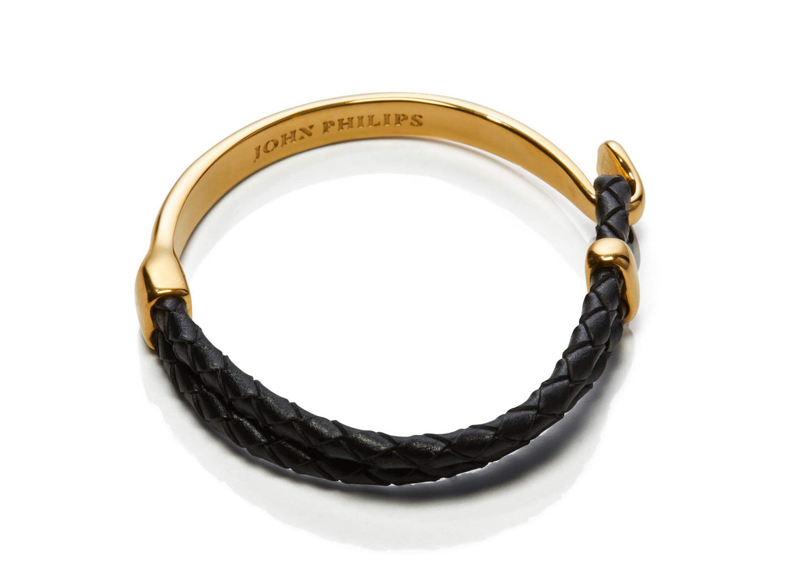 Hybrid Leather Bracelet (Gold & Black)