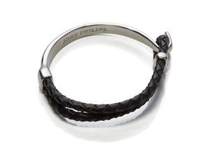 Hybrid Leather Bracelet (Silver & Black)