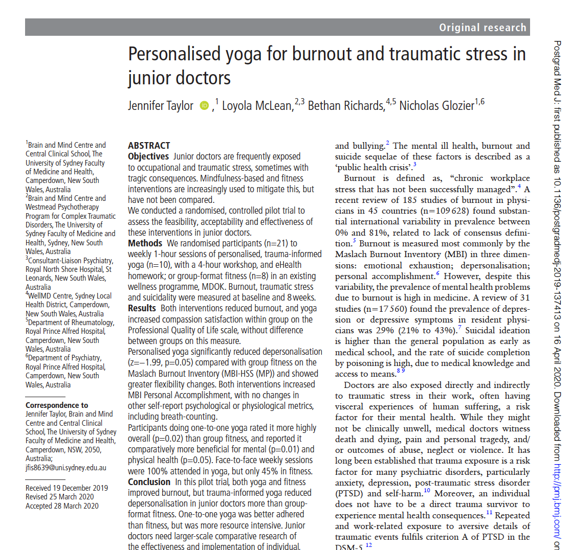 Personalised yoga for burnout and traumatic stress in junior doctors