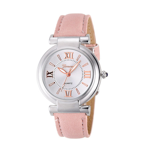 Genvivia Leather Band Quartz Watch