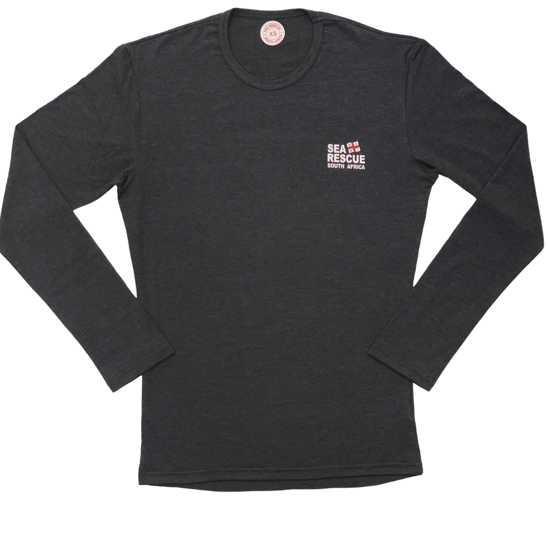 "NSRI Long Sleeve T-Shirt ""Sea Rescue"" (Unisex) Charcoal"