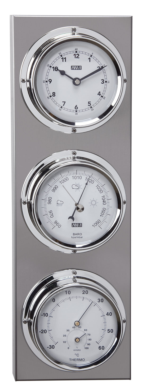 ANVI Barometer, Thermometer, Hygrometer, Clock - Stainless Steel - Rectangular (Coastal only)