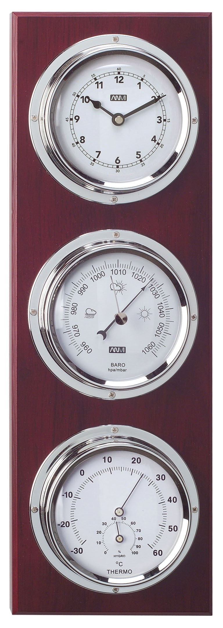 ANVI Barometer, Thermometer, Hygrometer, Clock - Chrome, and Wood - Rectangular (Coastal only)