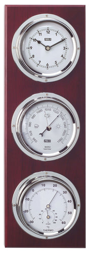 ANVI Barometer, Thermometer, Hygrometer, Clock - Chrome, Dark Wood - Rectangular (Coastal only)