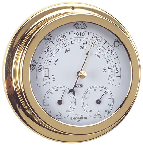ANVI Barometer, Thermometer, Hygrometer - Polished Brass & Lacquered - Circular (Coastal only)