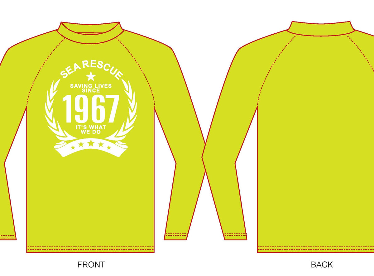 "NSRI Rash Vest Long-Sleeve ""1967"" (Ladies) Yellow"
