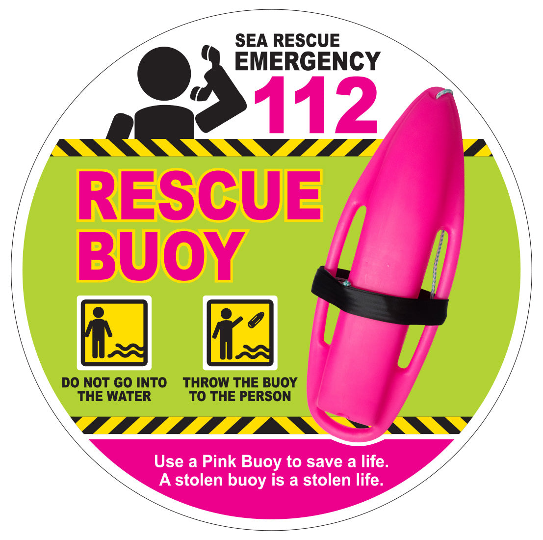 NSRI Pink Rescue Buoy Licence disc sticker