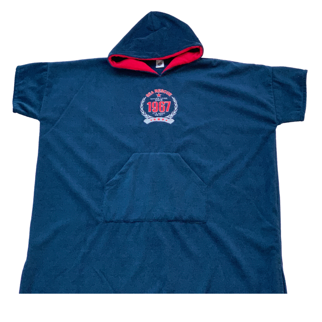 "NSRI Hooded Poncho Changing Towel ""Embroidered Anniersary Logo""  (Unisex) Navy Blue"