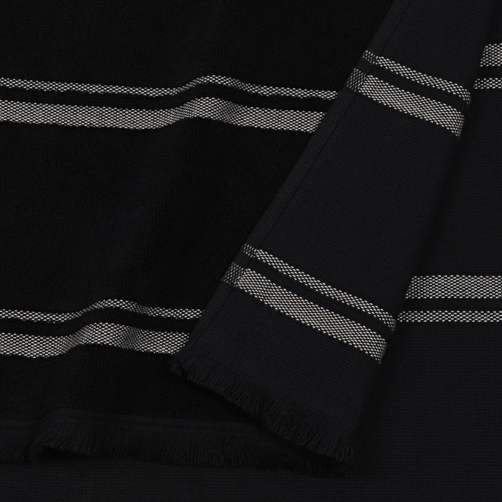Close up of Kobn black towel showing plain weave on reverse and terry weave front