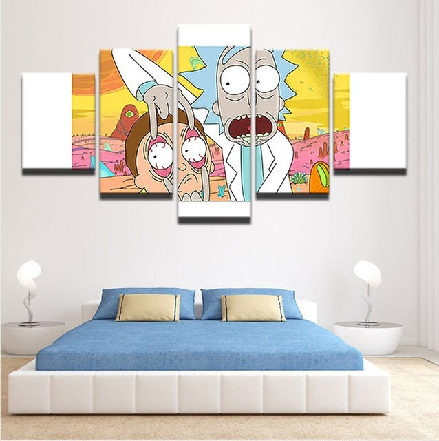 Modern Printing Type Poster Canvas Painting HD 5 Panel Cartoon ...