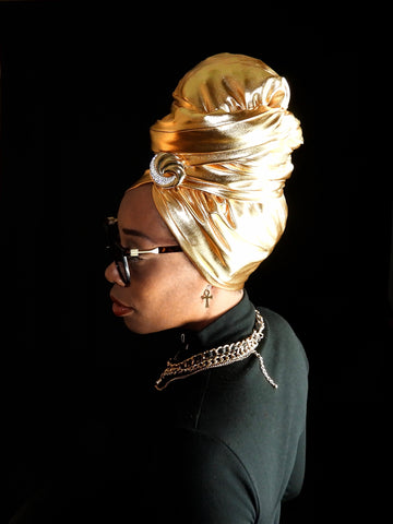 metalic gold head wrap