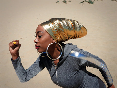 metallic gold head wrap