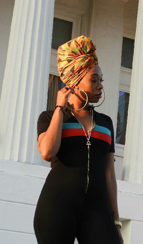 RBG kente head wrap
