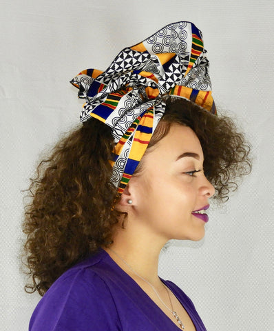 Ankara head wrap on model